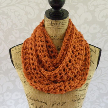 SALE Infinity Scarf Crochet Burnt Pumpkin Orange Long and Skinny Women's Accessories Eternity Fall Winter Ready To Ship