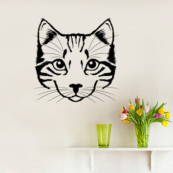Wall Decal Portrait of Cat Scratches Pet Silhouette Animal Design Interior Wall Decals Bedroom Nursery Living Room Pets Shop Home Decor 3875