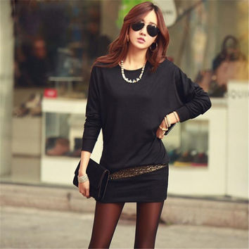 Women Batwing Dress Casual Hot Fall Winter Gold Print Long Sleeve Sexy Knitted Retro Dresses S076