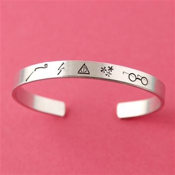 Harry Potter Symbols Cuff - Spiffing Jewelry