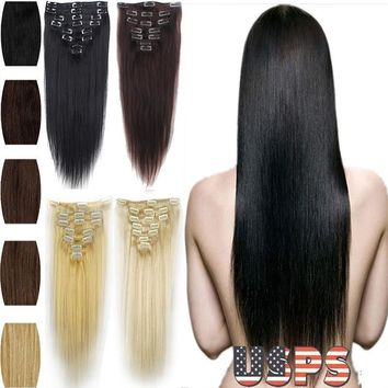 """16"""" 18"""" 20"""" 22"""" 7Piece Full Head Clip in Real Hair Extensions Black Brown Blonde Piece For Womens Ladies Hair Accessories"""