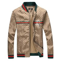 GUCCI Cardigan Khaki Jacket Coat Zipper Shirt