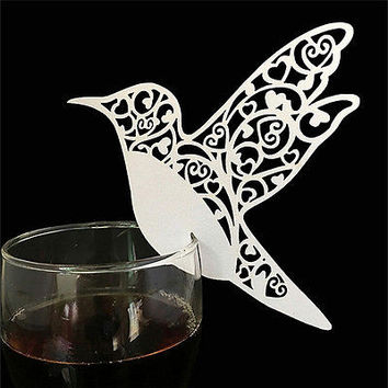 Hot Bird Wedding Name Place Cards For Wine Glass Laser Cut On Pearlescent CardHU
