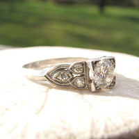 Art Deco Diamond Engagement Ring, Fiery European Cut Diamond with Beautiful Diamond Set Shoulders, Platinum, Circa 1930s