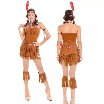 Halloween Adult New Costume Female Tassel Sexy Dress Indian Cosplay African Primitive Native Savage Play Party Party Chief Cost