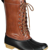 """Hunter"" Lace Up Shearling Lined Snow Boots - Cognac/Black"