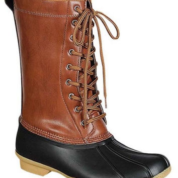 """""""Hunter"""" Lace Up Shearling Lined Snow Boots - Cognac/Black"""