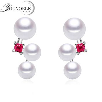 925 Sterling Silver Earrings Girls Jewelry,Natural Freshwater Pearl Earrings Steamed Bread Round Mother Best Gift in Jewelry box