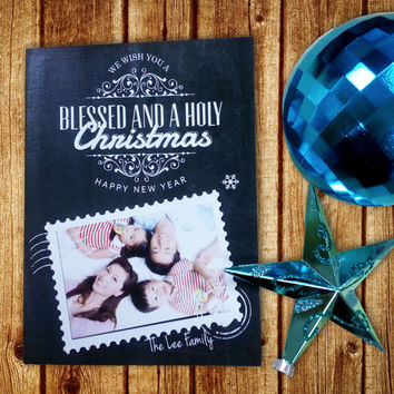 Seasons Greetings Cards - Personalized - Chalkboard Christmas & Happy New Year Card - 6pcs / Set - Customize Xmas Holiday Card