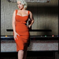 Jessica Dress in Rust Solid Bengaline | Pinup Girl Clothing