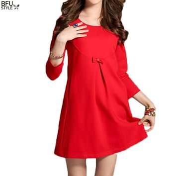 New Year Christmas Dress Women Red Black Bowknot Summer Automn Lace Club Party Retro Vintage Dress Three Quarter 2018