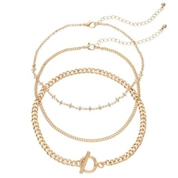 Mudd® Chain, Simlated Crystal Station & Toggle Choker Necklace Set | null