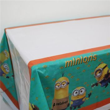 Lovely disposable Boy Birthday tablecloth Cartoon New style Minions kids happy birthday party plastic tablecover supplies 108cm