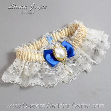 Ivory and Blue Wedding Garter Lace Bridal Garter 871 Ivory - 350 Royal Blue Prom Garter Plus Size & Queen Size