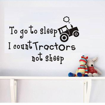 To Go To Sleep I Count Tractor Not Sheep Wall Sticker Cartoon Style For Kids Room Bedroom Baby Poster Wallpaper Home Decoration