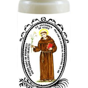 Saint Anthony of Assisi Patron of Prophecy & Finding Lost Objects 8 Ounce Scented Soy Prayer Candle