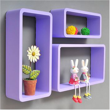 3pieces / lot Hexagon Shaped Decorative Wall Shelves Wood Wall Shelves Modern pink,white 3D Wall Sticker Korean Wall Shelfs