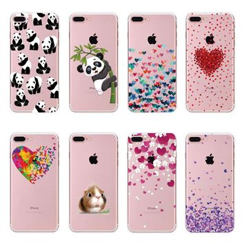 Soft tpu case Cute Panda Hamster Animals Case For iphone 6 6S 5 5s SE 7 7G Silicone Butterfly Love Hearts Pattern Back Cover