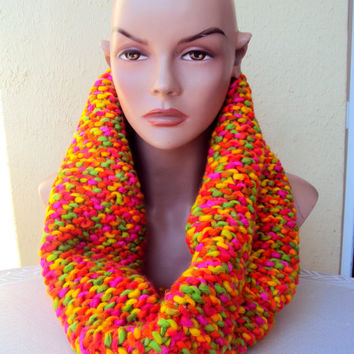Knit Chunky Cowl Infinity Tube Scarf Loop Circle Scarf Cowl Neck Warmer Scarf Hood Capelet