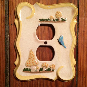 vintage ceramic mushroom outlet cover, butterflies, nature, insects, toadstool