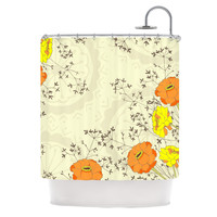 "Nandita Singh ""Flowers and Twigs"" Tan Orange Shower Curtain"