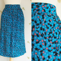 1980's Rayon Skirt / High Waisted / Caribbean Blue / Pastel Print / Small / Vintage 80s