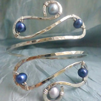 Silver Upper Arm Cuff, Armlet - Silver and Dark Blue or CUSTOM CREATED - Great for Prom!
