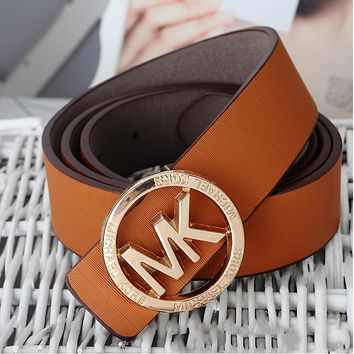 MK Fashion Women Men Personality Metal Smooth Buckle Belt Leather Belt(10-Color) Brown