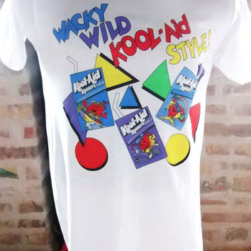 Vintage 80s Kool Aid T Shirt New Old Stock Dead Stock RARE Color Block Geometric Wacky Wild