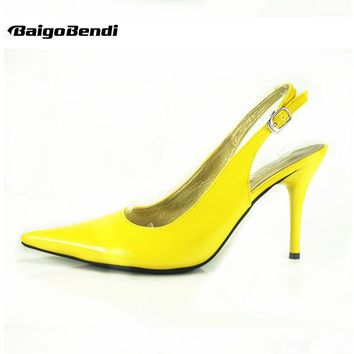 US 5-10 Big Size 41 42 Summer Candy Color Patent Leather Pointy Toe Mules Sandal OL Club Womens High Heel Shoes