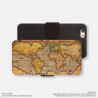 Vintage World Map iPhone Samsung Galaxy leather wallet case cover 082
