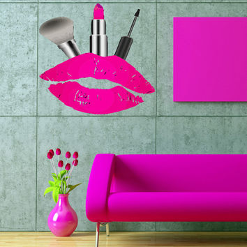 Full color decal Lips lipstick kiss cosmetics sticker, wall art decal gc457