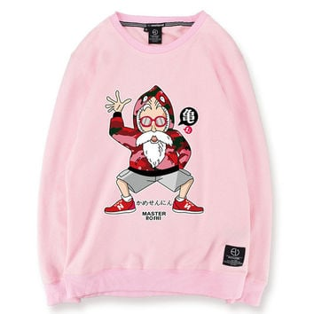 Dragon Ball Z Master Roshi Bape New Balance Pink Green White Black Grey Sweatshirt Mens Womens Funny Printed Fleece Hip Hop Winter Cotton Casual Oversized Sweater