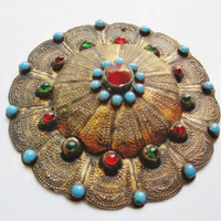 Antique Turkoman Button Made of Gold Gilted Silver and Colored Glass