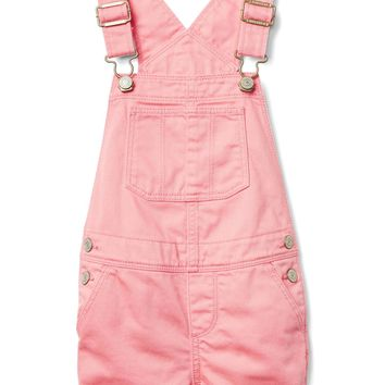 Pink denim short overalls | Gap
