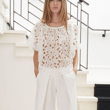 Alexis Rolan Lace Gathered Top in White Floral Lace