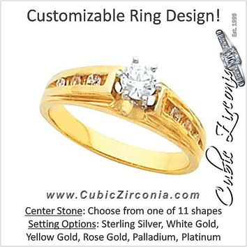 Cubic Zirconia Engagement Ring- The Billie (Customizable 7-stone with Round Channel)