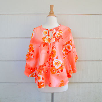 Vintage Hawaiian Print Poncho, Waltah Clarke's Hawaiian Shops, Beach Cover Up, Peach, Tropical Flowers, circa 1960s