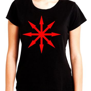Red Eight Pointed Arrow Chaos Star Women's Babydoll Shirt Occult Clothing