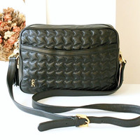 Roberta Di Camerino Bag Vintage Handbag Black Leather Quilt Lamskin Purse Authentic
