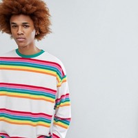 ASOS Oversized Sweatshirt In Rainbow Toweling Stripe at asos.com