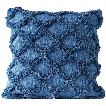 Cotton Chenille Scalloped Pillow - Dark Blue - 18-in