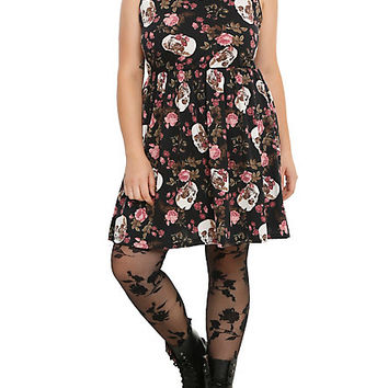 Skull Flower Collar Dress Plus Size