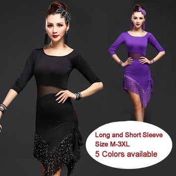 New Latin Dance Costumes Sexy Senior Gauze Fringe Latin Dance Dress For Women Latin Dance Dresses Plus Size