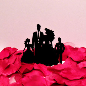 Ariel, the Groom and their 2 kids Wedding Cake Topper