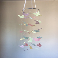 Pastel Butterfly paper mobile. Pink, Yellow, Blue, Lavender and Mint Baby nursery mobile, Crib mobile, Modern decor, Nursery mobile decor