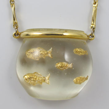 Vintage Castlecliff Fish Bowl Necklace Lucite Jelly Belly Book Piece Harrice Simmons