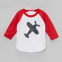 Red & White Airplane Raglan Tee - Toddler & Boys | zulily