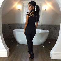 Elegant Jumpsuit Romper Bodycon Cutout Rompers Womens Jumpsuit Fitness Female Turtleneck Short Sleeve Women Clothing LJ7429T