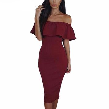 Frill Midi Bodycon Dress